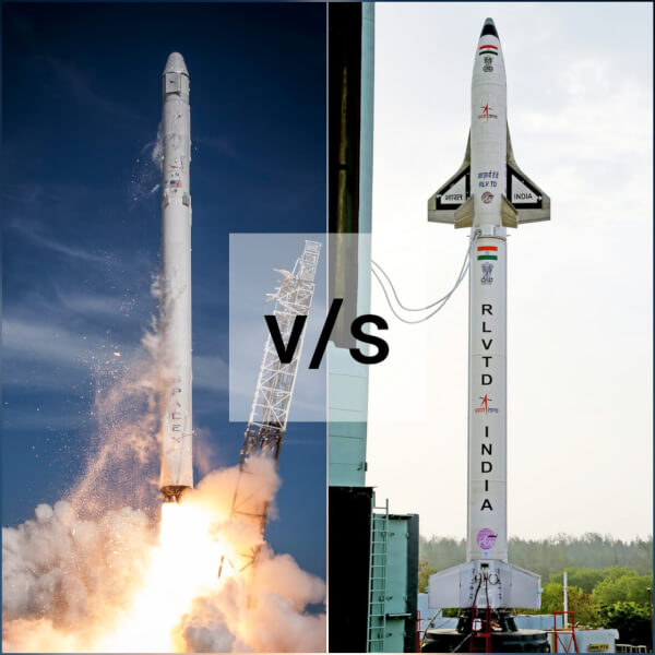 SpaceX 's Falcon 9 vs ISRO 's Reusable Space Launch Vehicle