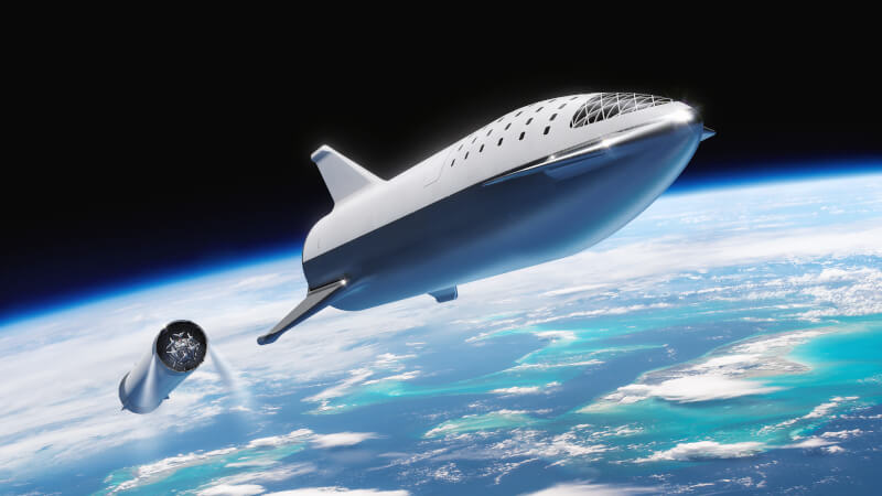 Artistic rendition of Starship and its stage separation.