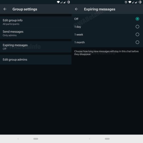 Whatsapp Expiring Messages