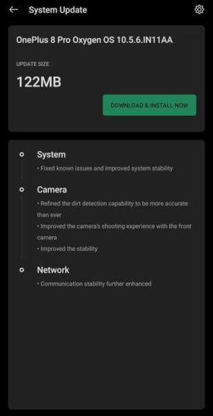 OnePlus 8 Pro OxygenOS 10.5.6 Update Changelog
