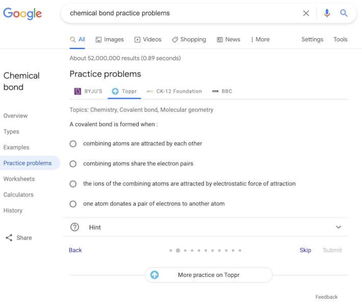 google new feature, google practice problems, google new update, practice problems feature, google education