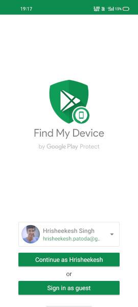 google find my device unlock